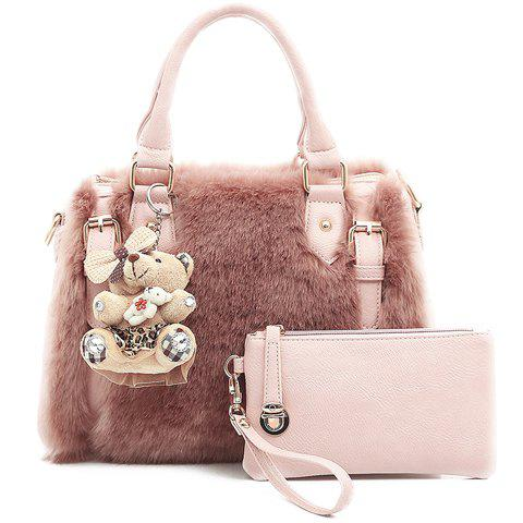 Trendy Buckles and Faux Fur Design Women's Tote Bag - PINK