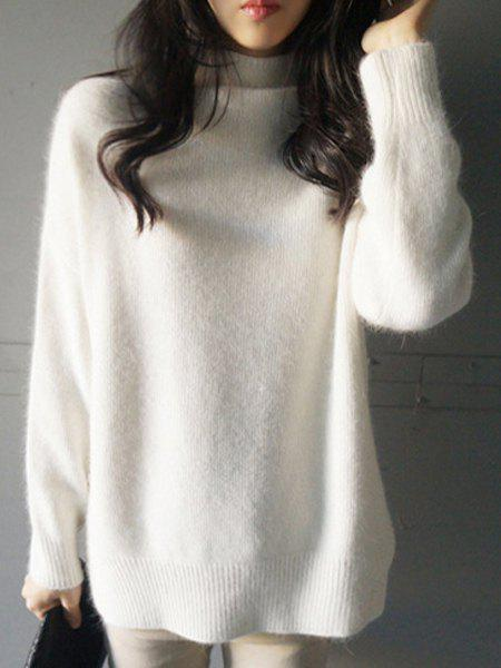 Charming White Stand Collar Long Sleeve Slit Pullover Sweater For Women