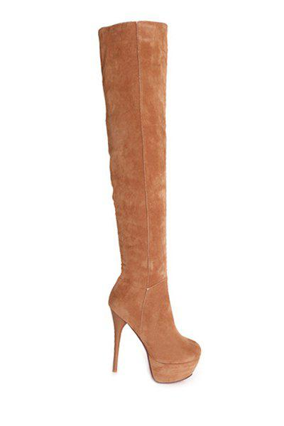 Party Suede and Stiletto Heel Design Women's Thigh Boots - BROWN 36