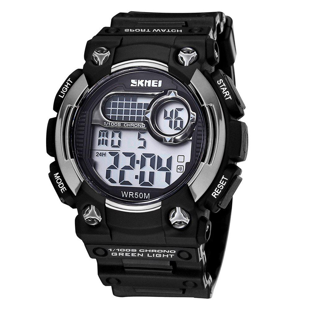 Skmei 3705 5ATM Water Resistant LED Multifunctional Sports Watch - BLACK