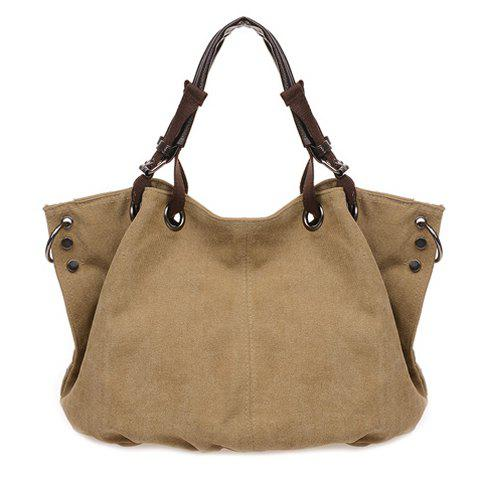 Stylish Metal and Canvas Design Tote Bag For Women - KHAKI