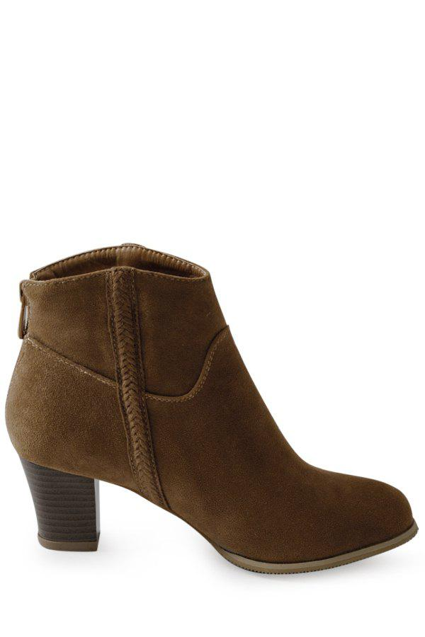 Concise Dark Color and Chunky Heel Design Women's Short Boots - BROWN 37
