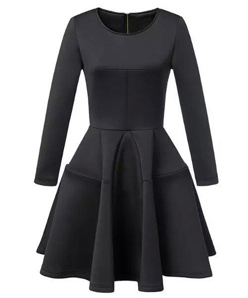 Elegant Women's Jewel Neck Long Sleeve Solid Color Ball Gown Dress - BLACK S