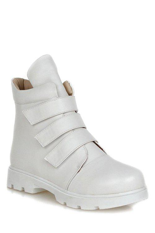 Casual Solid Colour and  Design Women's Short Boots - 37 WHITE