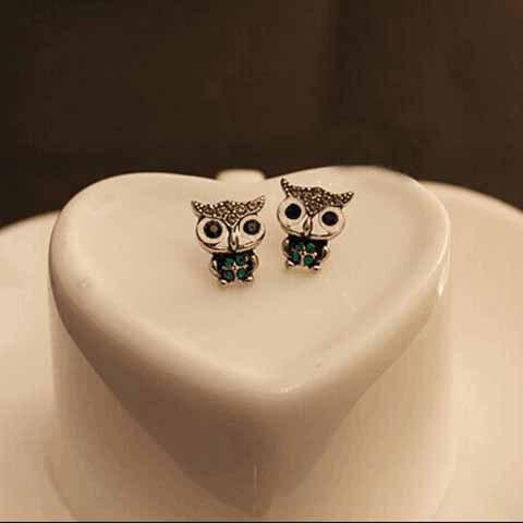 Pair of Rhinestoned Owl Shape Stud Earrings - AS THE PICTURE