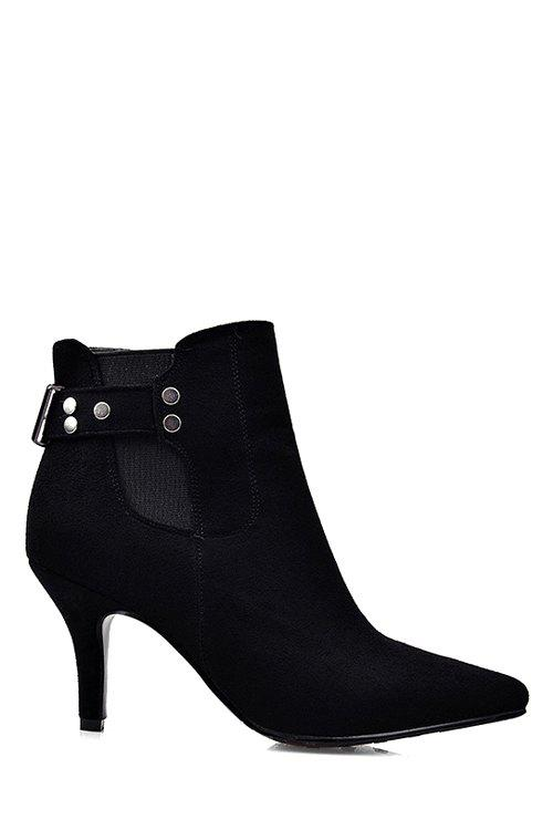 Office Lady Rivet and Pointed Toe Design Women's Short Boots - BLACK 36