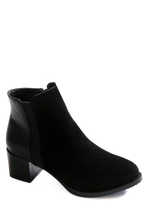 Concise Chunky Heel and Splicing Design Women's Short Boots - BLACK 38