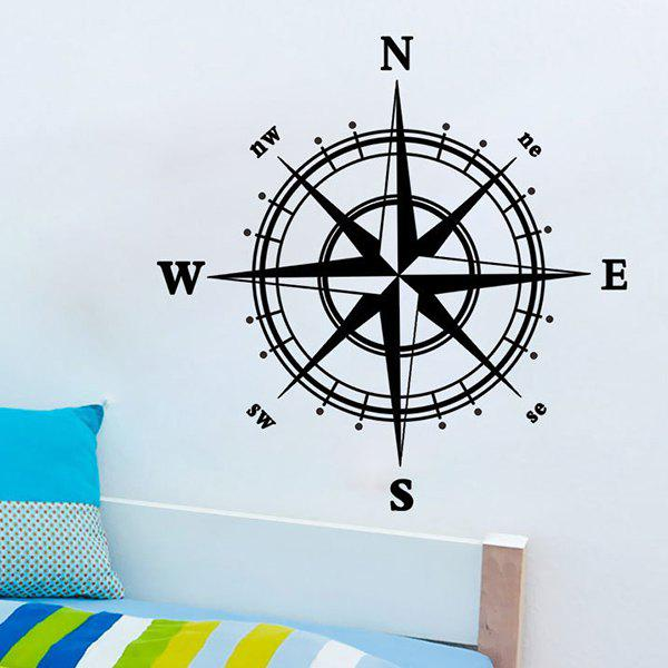 New Compass Pattern Solid Color Wall Sticker For Home Decor - BLACK