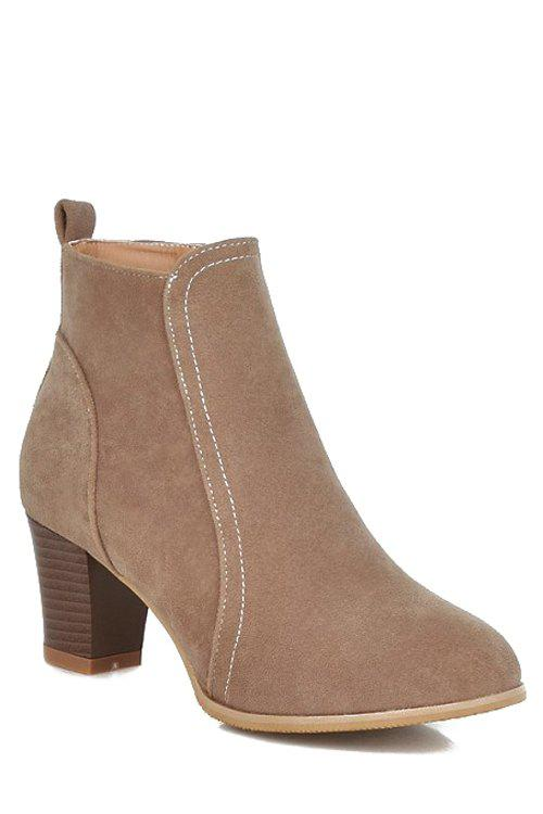 Concise Stitching and Suede Design Women's Short Boots - APRICOT 38