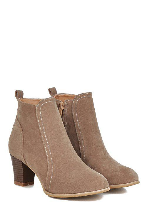 Concise Stitching and Suede Design Women's Short Boots - APRICOT 37