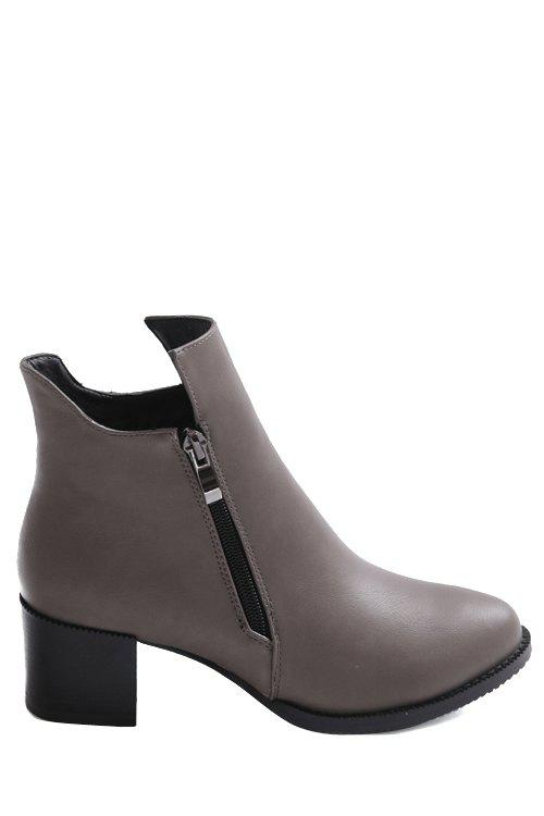 Simple Zipper and Solid Color Design Women's Short Boots - 36 GRAY