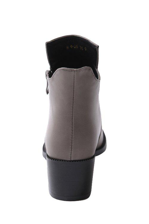 Simple Zipper and Solid Color Design Women's Short Boots - GRAY 36