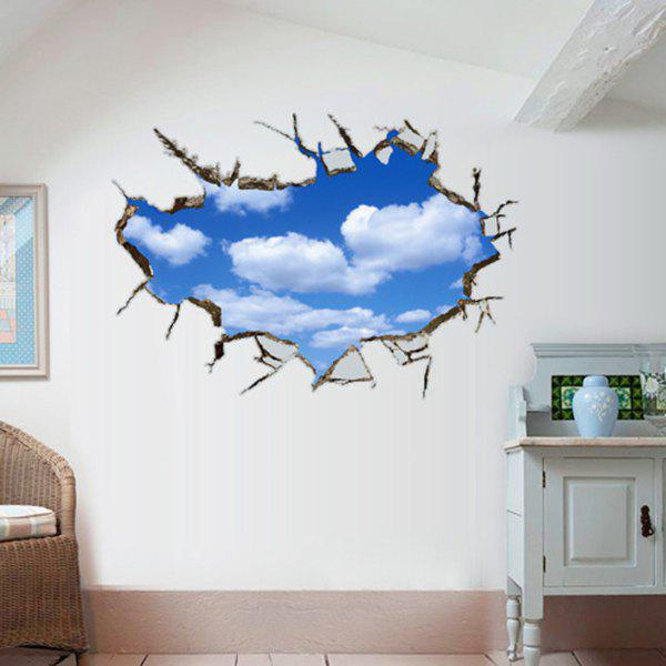 Stylish Blue Sky Cloud Broken Wall Design 3D Wall Sticker For Home - BLUE