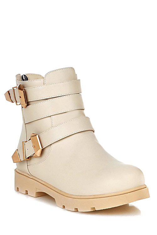 Casual Metal Buckles and Solid Color Design Women's Short Boots - OFF WHITE 38