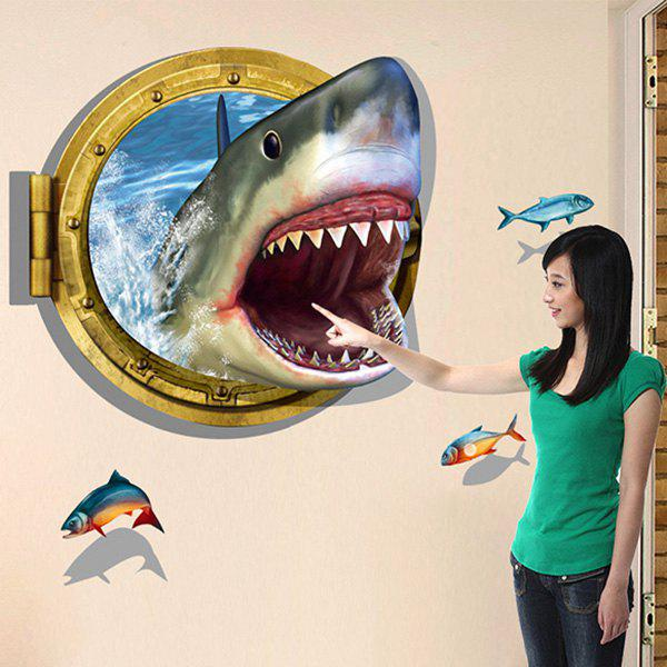 Cute 3D Shark Design Wall Sticker For Bathroom Living Room - COLORMIX
