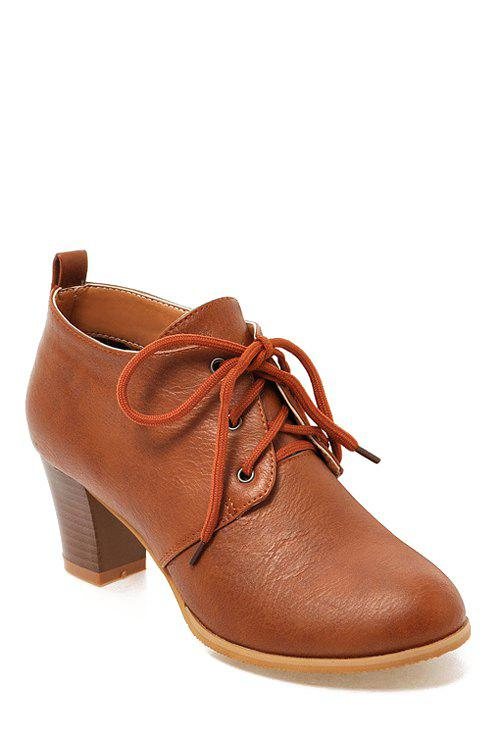 Concise Lace-Up and Solid Color Design Women's Ankle Boots - BROWN 37