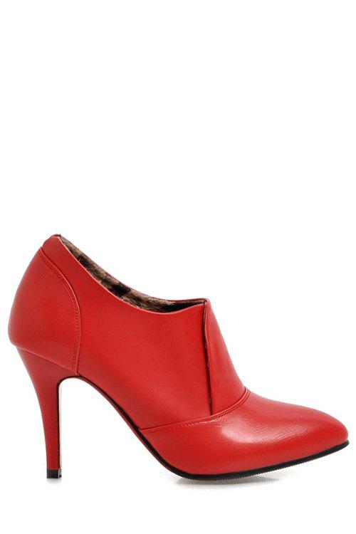 Concise Pointed Toe and Solid Color Design Women's Ankle Boots - RED 38
