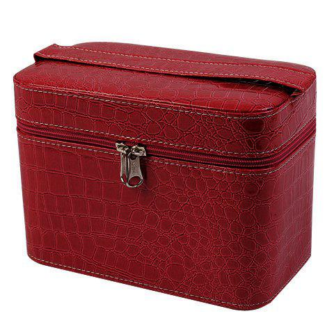 Fashion PU Leather and Solid Color Design Women's Cosmetic Bag - RED