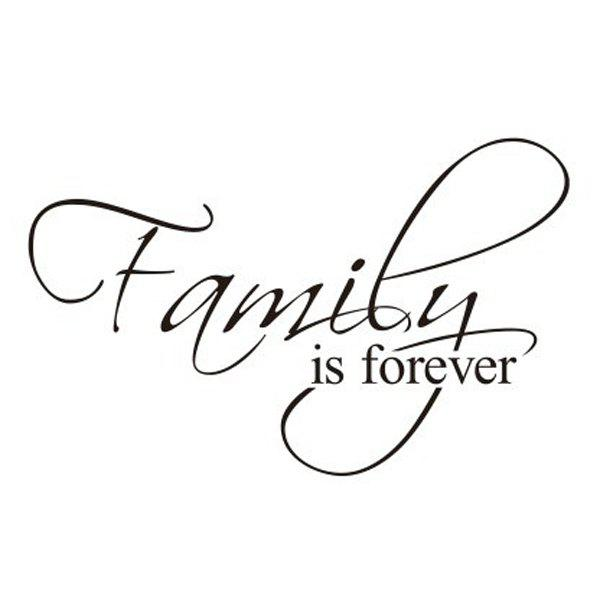 New Words Family Is Forever Solid Color Wall Sticker For Home - BLACK