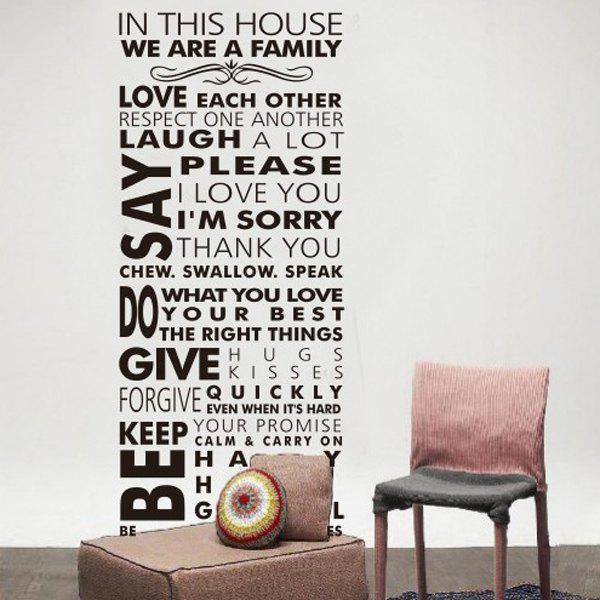 New Words House Rule Solid Color Wall Sticker For Home - BLACK