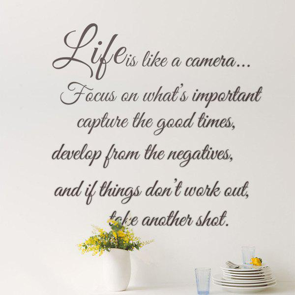 Sweet Removable Words Life Is Solid Color Wall Sticker - BLACK