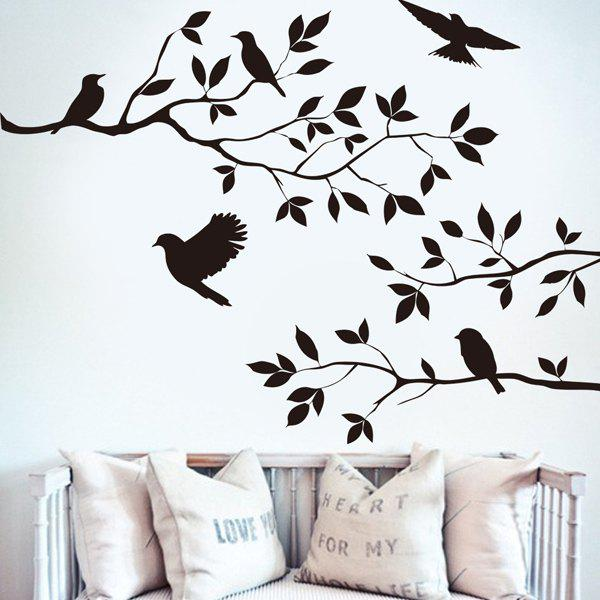 Modern Birds Tree Branches Design Solid Color Wall Sticker For Home   BLACK