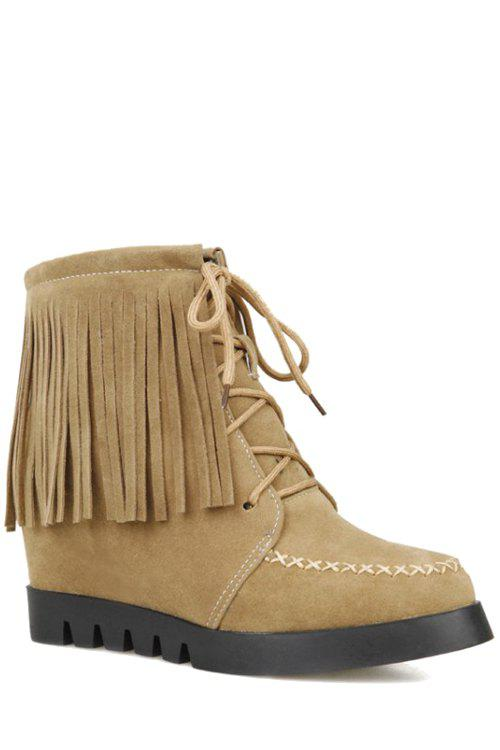 Trendy Fringe and Criss-Cross Design Women's Short Boots - APRICOT 36