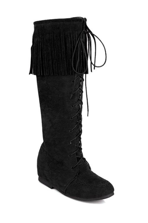 Vintage Fringe and Stitching Design Women's Mid-Calf Boots - BLACK 34