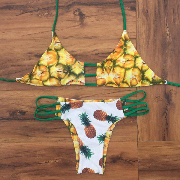 Double Side Wear Halter Printed Bikini - YELLOW S