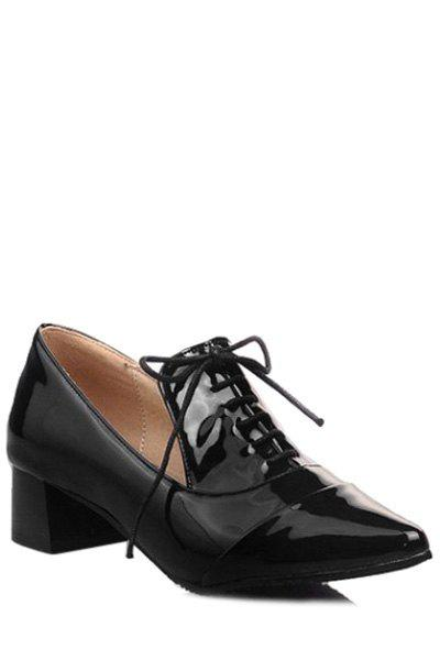 Trendy Lace-Up and Pointed Toe Design Women's Pumps - BLACK 36