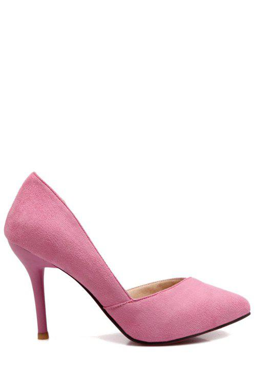 Charming Flock and Pointed Toe Design Women's Pumps - PINK 38