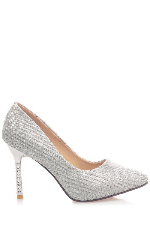 Trendy Sequined Cloth and Pointed Toe Design Women's Pumps - SILVER 34