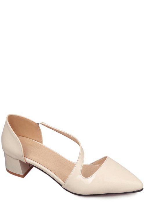 Trendy Strap and Pointed Toe Design Women's Pumps - OFF WHITE 37