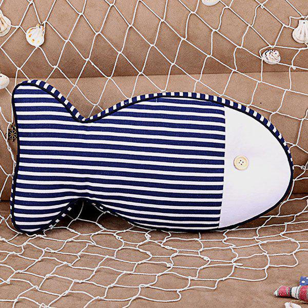 Fashionable Blue and White Stripe Fish Shape Design Cartoon Pillow - BLUE
