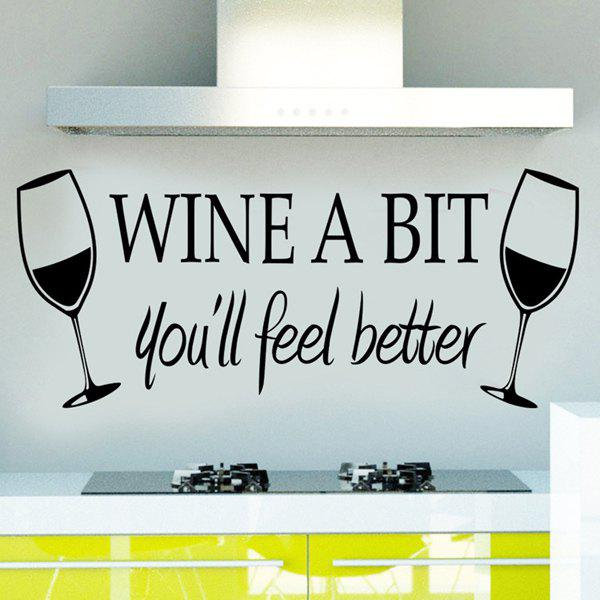 New Removable Words Wine A Bit Solid Color Wall Sticker For Bars - BLACK