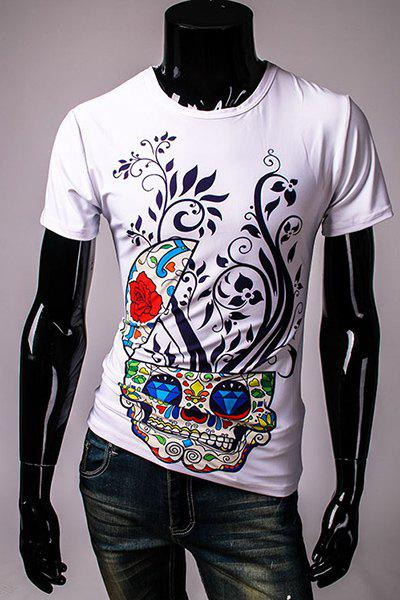 Cool Skulls and Floral Pattern Slimming Round Neck Short Sleeves Men's 3D Printed T-Shirt - WHITE L