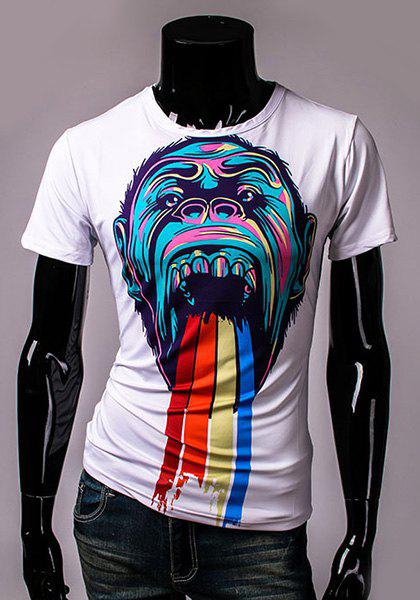 Round Neck Colorful 3D Orangutan Pattern Print Short Sleeve Men's T-Shirt