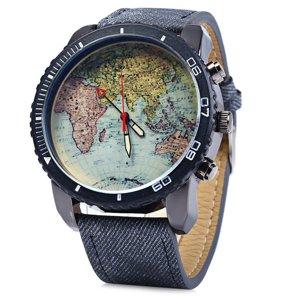 JUBAOLI Map Pattern Male Quartz Watch with Canvas + Leather Strap - BLACK