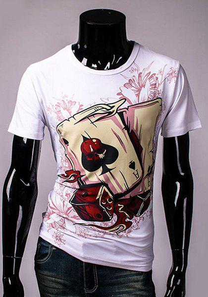 Casual Round Neck 3D Pattern Print Short Sleeve Men's T-Shirt - WHITE M