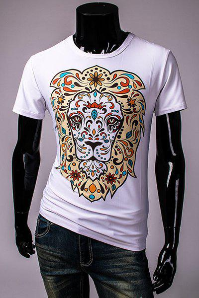 3D Cartoon Camo Lion Print Slimming Round Neck Short Sleeves Men's Hot Sale T-Shirt - WHITE M