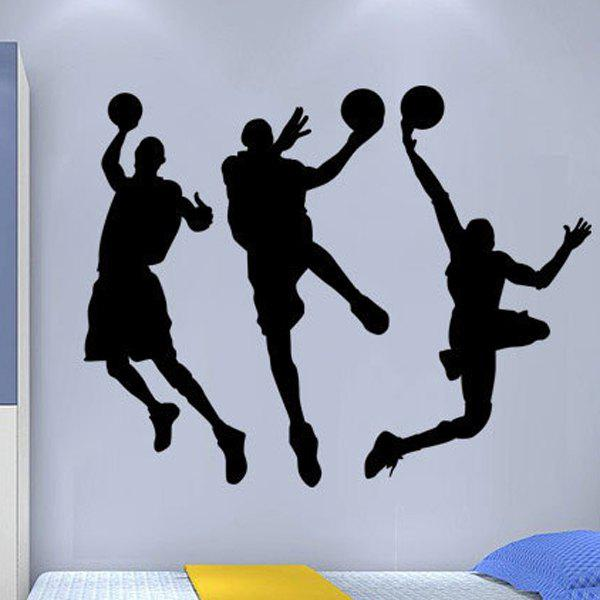 Sports Playing Basketball Design Solid Color Wall Sticker For Home - BLACK