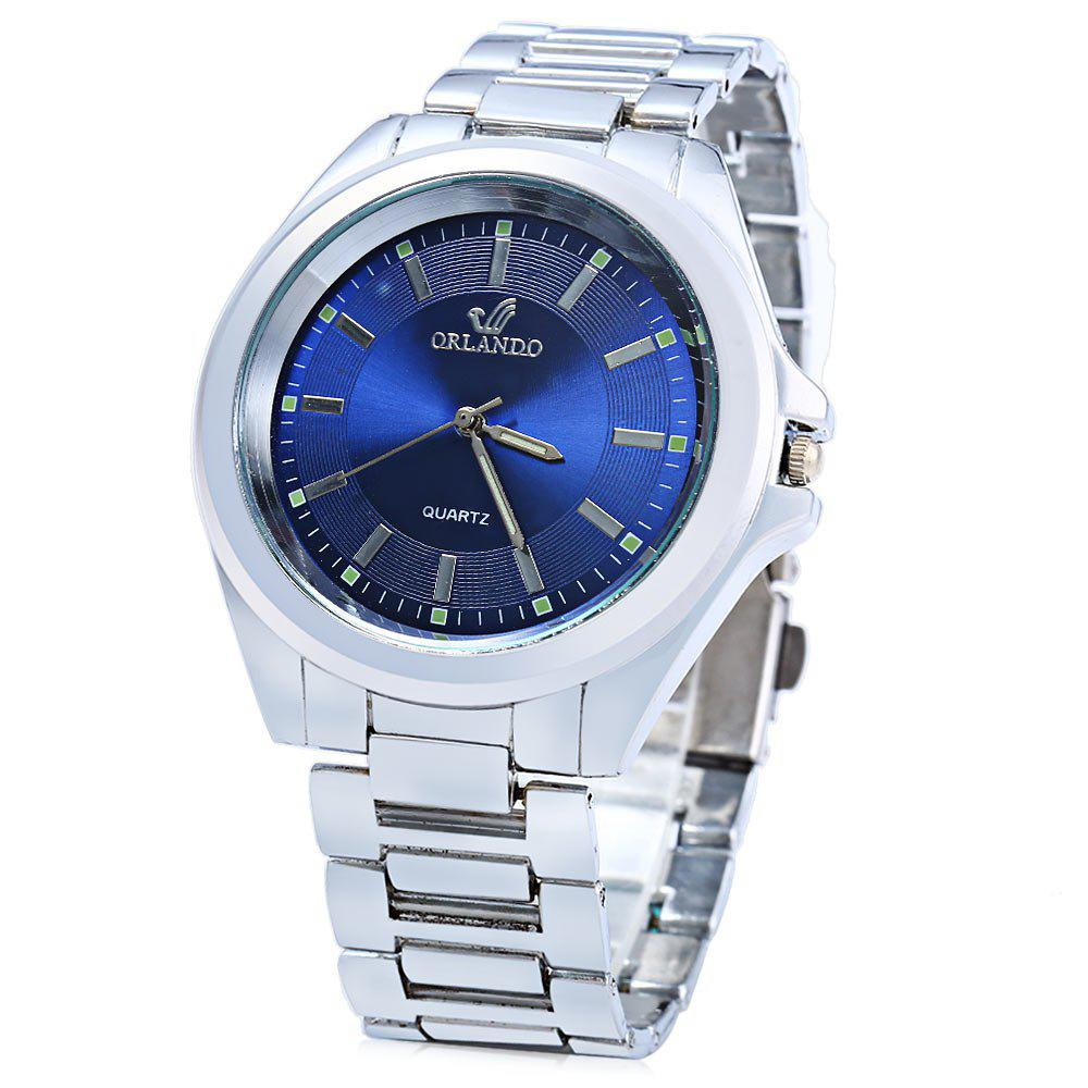 ORLANDO 385 Male Quartz Watch with Stainless Steel Band - BLUE