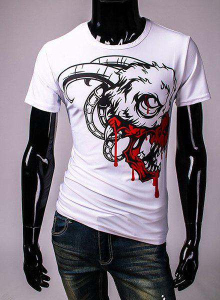 Fashion Round Neck 3D Abstract Cartoon Animal Print Short Sleeves Men's Slim Fit T-Shirt - WHITE XL
