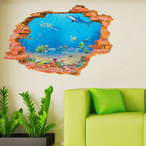 Cool Sea World Design 3D Wall Sticker For Home Decor - COLORMIX