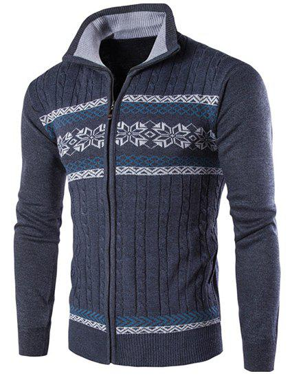 Modish Turn-down Collar Snowflake Wavy Stripes Jacquard Slimming Men's Long Sleeves Cardigan - GRAY M