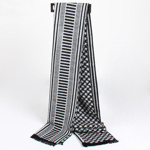 Stylish Houndstooth and Stripe Pattern Fringed Scarf For Men - BLACK
