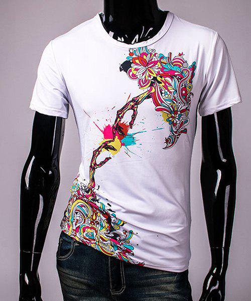 Pullover Round Collar 3D Colorful Printing Short Sleeve T-Shirt For Men