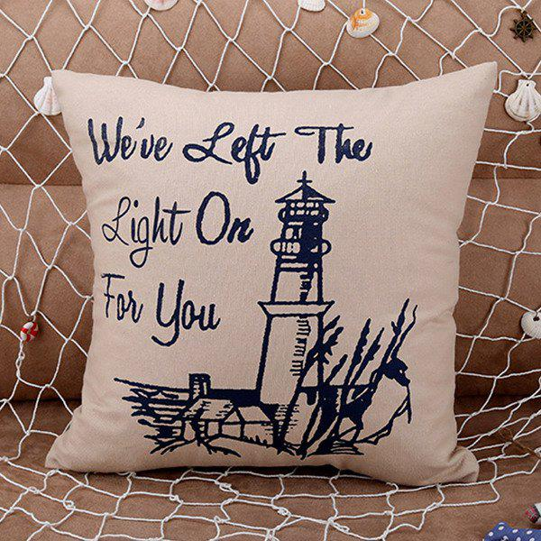 Fashionable Lighthouse Pattern Square Shape Pillow Case (Without Pillow Inner) - SHALLOW FLAXEN