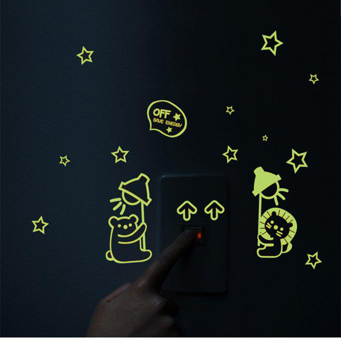 Bear Cat Pattern Luminous Switch Wall Stickers Removable Noctilucence Wallpaper - COLORFUL
