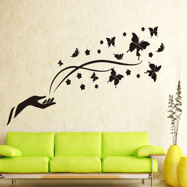 High Quality Butterfly Pattern Removable Background Wall Sticker For Home Decor - BLACK